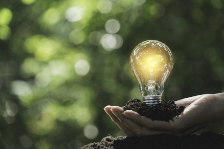 Hand of male holding a light bulb and copy space for accounting,